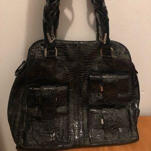 Pollini black leather alligator purse